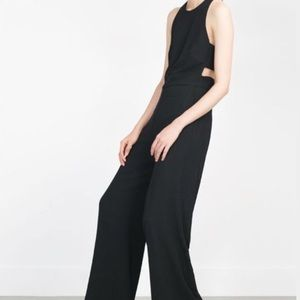 Zara Black Wide Leg Trouser Jumpsuit Cut Out Back